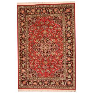 Herat Oriental Indo Hand-knotted Kashmar Rust/ Navy Wool Rug (6'2 x 9'2)
