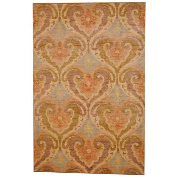 Herat Oriental Indo Hand-knotted Vegetable Dye Ikat Wool Rug - 6' x 9'3