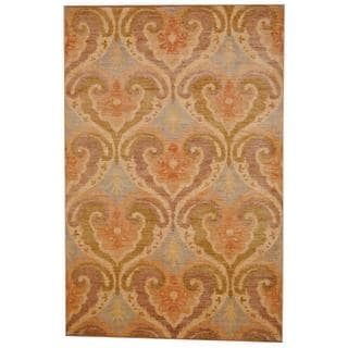 Herat Oriental Indo Hand-knotted Vegetable Dye Ikat Rust/ Gold Wool Rug (6' x 9'3)