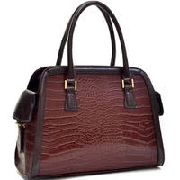 Dasein Croc Textured Fin Satchel Handbag