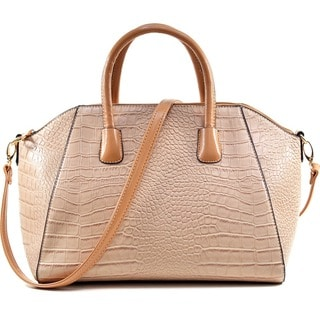 Dasein Croc-embossed Weekender Satchel with Removable Shoulder Strap