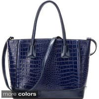 Dasein Croc-textured Tote with Removable Shoulder Strap