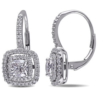 Miadora Design 14k White Gold 1 1/2ct TDW Halo Cushion Cut Diamond Earrings (G-H, SI1-SI2)