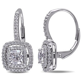 Miadora Design 14k White Gold 1 1/2ct TDW Halo Cushion Cut Diamond Earrings