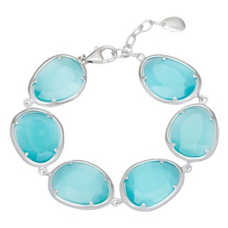 La Preciosa Sterling Silver Blue Cats Eye Oval Link Bracelet