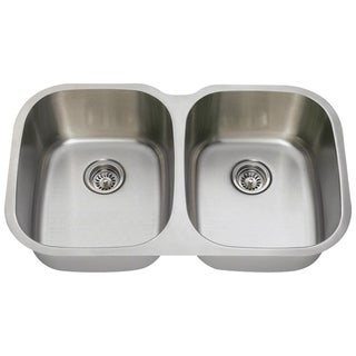 MR Direct 504-16 Equal Double Bowl Stainless Steel Kitchen Sink