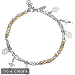 La Preciosa Sterling Silver Diamond-cut Beads and Cross Rosary Bracelet