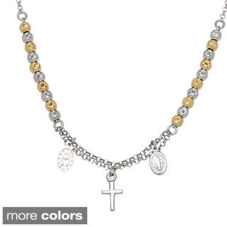 La Preciosa Sterling Silver Diamond-cut Beads and Cross Rosary Necklace