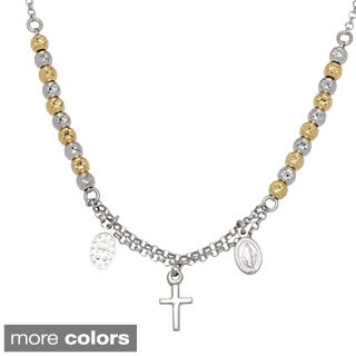 La Preciosa Sterling Silver Diamond-cut Beads and Cross Rosary Necklace (2 options available)