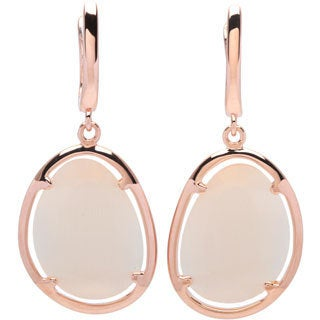 La Preciosa Sterling Silver Rose-plated Champagne Cats Eye Oval Earrings