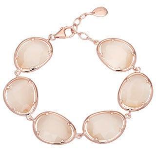 La Preciosa Sterling Silver Champagne Cats Eye Oval Link Bracelet
