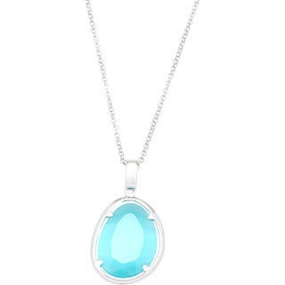 La Preciosa Sterling Silver Blue Cats Eye Oval Pendant