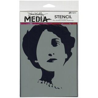 """Dina Wakley Media Stencils 6""""X9""""-Stenciled Queenie"""