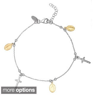 La Preciosa Sterling Silver Cross and Figure Rosary Bracelet