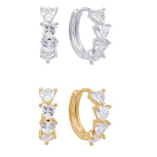 Sterling Silver and Cubic Zirconia Heart Endless Hoop Earrings (2 options available)