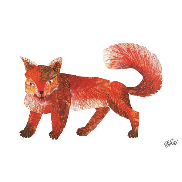 handmade eric carle baby bear character art red fox canvas print