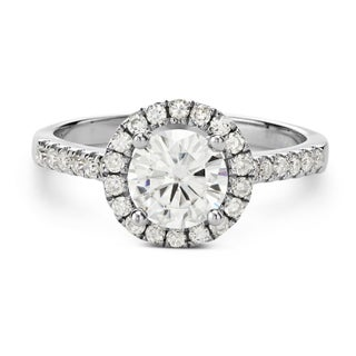 Charles & Colvard 14k White Gold 1.3-carat Round Moissanite Halo Engagement Ring (4 options available)