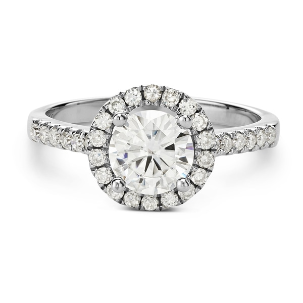 Charles & Colvard 14k Gold 1.3-carat Round Moissanite Halo Engagement Ring