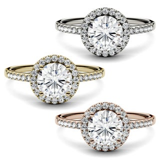 Link to Charles & Colvard 14k Gold Moissanite Halo Engagement Ring Similar Items in Wedding Rings