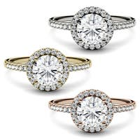 Charles & Colvard 14k Gold 1 1/3 ct. TGW Round Moissanite Halo Engagement Ring - White
