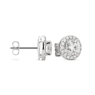 Charles & Colvard 14k White Gold 1.92 TGW Round Forever Brilliant Moissanite Halo Earrings
