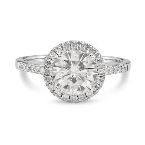 Moissanite by Charles & Colvard 14k Gold 1.82 TGW Round Halo Engagement Ring