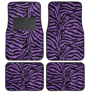 BDK Safari Zebra Colorful 4-Piece Universal Carpet Floor Mat Set (Option: Purple)