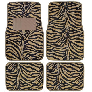 BDK Safari Zebra Colorful 4-Piece Universal Carpet Floor Mat Set