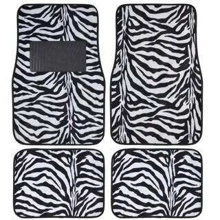 BDK Safari Zebra Colorful 4-Piece Universal Carpet Floor Mat Set (Option: White)