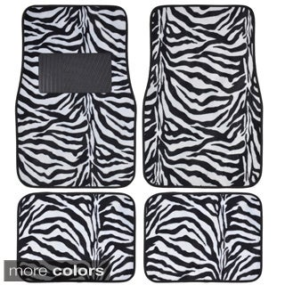 BDK Safari Zebra Colorful 4-Piece Universal Carpet Floor Mat Set