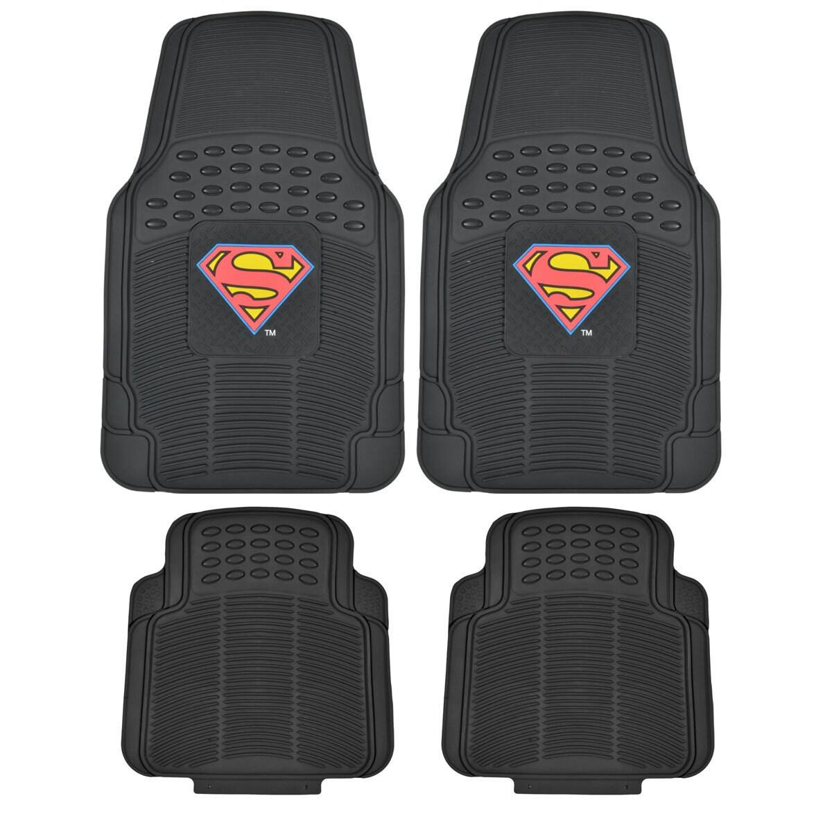 Warner Brothers BDK Superman Rubber Floor Mats 4-Piece Of...