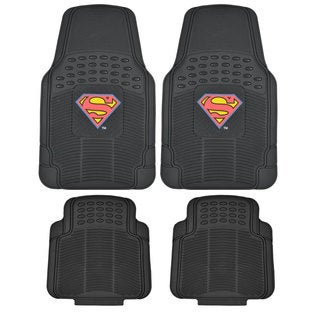 BDK Superman Rubber Floor Mats 4-Piece Officially Licensed Products
