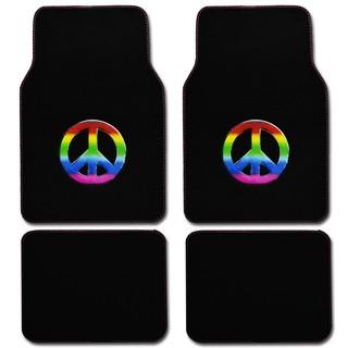 BDK Peace Design 4-piece Car Floor Mats (Universal Fit)