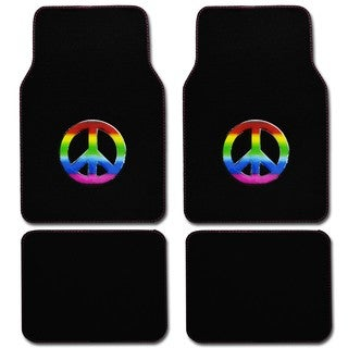 BDK Peace Design 4-piece Car Floor Mats (Universal Fit)