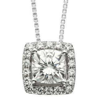 Charles & Colvard 14k White Gold 1.28 TGW Cushion Forever Brilliant Moissanite Halo Pendant