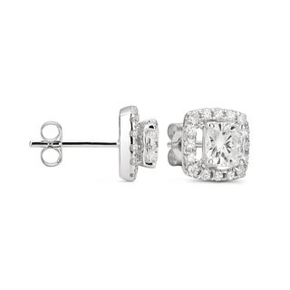 Forever Brilliant 14k White Gold Moissanite Halo Stud Earrings