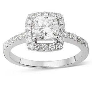Charles & Colvard 14k White Gold 1 2/5ct DEW Cushion Forever Brilliant Moissanite Halo Engagement Ring