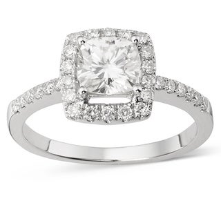 Charles & Colvard 14k White Gold 1 2/5ct DEW Cushion Forever Brilliant Moissanite Halo Engagement Ring