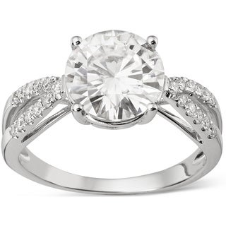 Charles & Colvard 14k Gold 2.92 TGW Round Forever Brilliant Moissanite Solitaire Ring with Sidestones