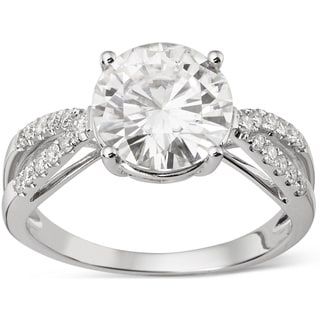 Charles & Colvard 14k Gold 2.92 TGW Round Forever Brilliant Moissanite Solitaire Ring with Sidestone