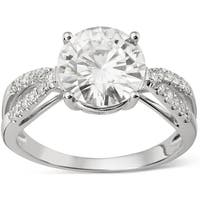 Charles & Colvard 14k White Gold 2 9/10ct DEW Round Forever Brilliant Moissanite Solitaire Ring with Sidestones