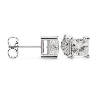 Charles & Colvard 14k Gold 4.20 TGW Square Forever Brilliant Moissanite Stud Earrings