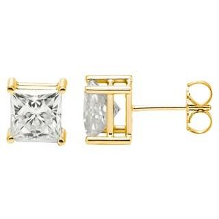Charles & Colvard 14k Gold 2.60 TGW Square Forever Brilliant Moissanite Stud Earrings