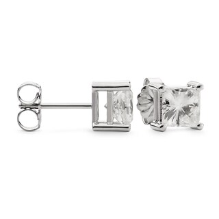 Charles & Colvard 14k Gold 2.60 TGW Square Forever Brilliant Moissanite Stud Earrings