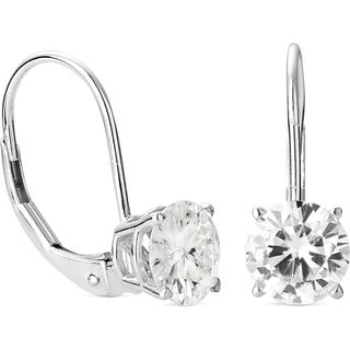 Charles & Colvard 14k White Gold 2.00 TGW Round Forever Brilliant Moissanite Dangle Earrings
