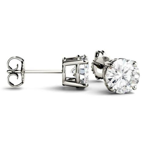 Moissanite by Charles & Colvard 14k Gold 1/2ct, 1ct, 2ct, 3ct Stud Earrings