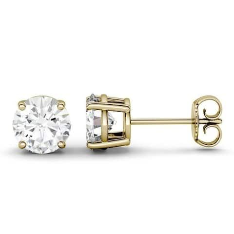 Moissanite by Charles & Colvard 14k Gold 1/2ct, 1ct, 2ct, 3ct Stud Earrings