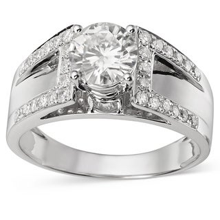 Charles & Colvard 14k Gold 1.30 TGW Round Forever Brilliant Moissanite Solitaire Ring with Sidestone