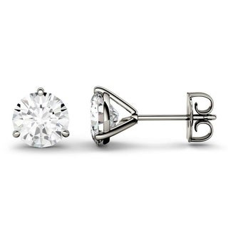 Charles & Colvard 14k Gold 3.00 TGW Round Forever Brilliant Moissanite Stud Earrings
