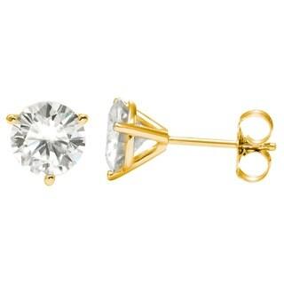 Charles & Colvard 14k Gold 2.40 TGW Round Forever Brilliant Moissanite Stud Earrings